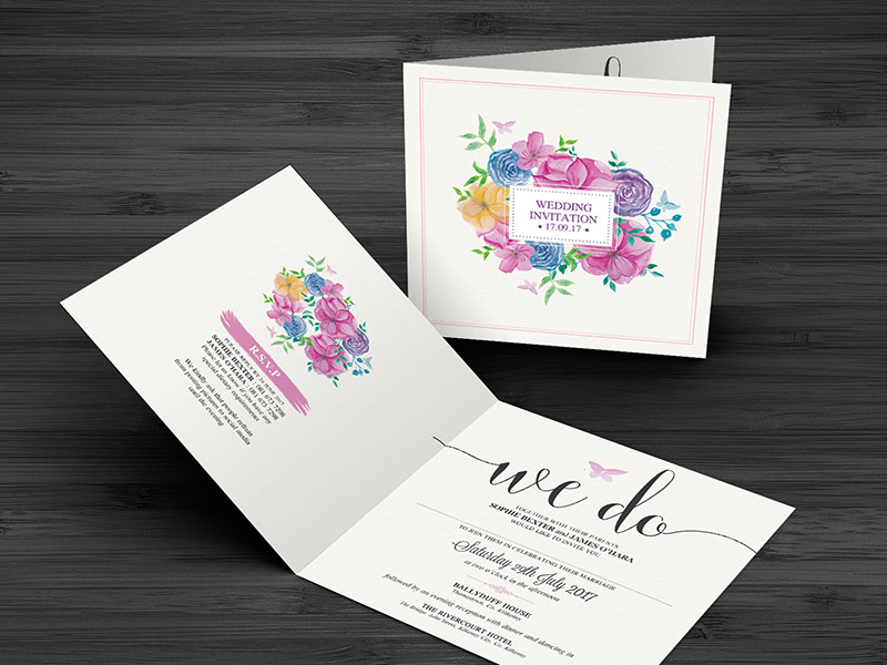 water colour floral wedding invitation