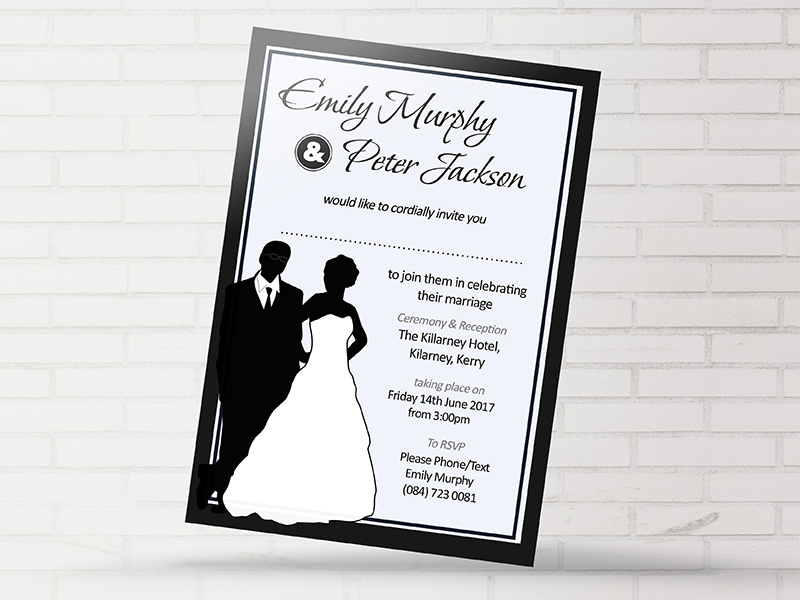 Black white wedding invitation now forever ireland uk black white wedding invitation filmwisefo