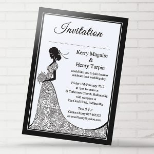 Black & White Bride Dress Invite