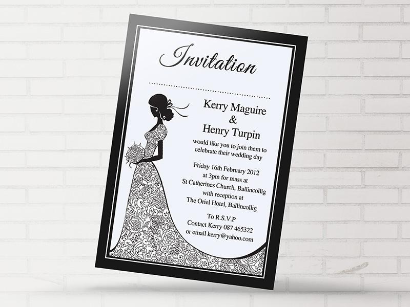 Black & White Bride Dress Invite