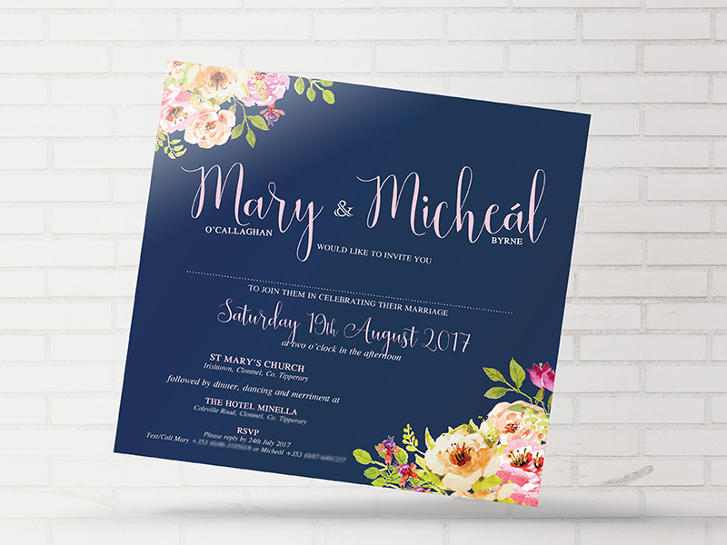 Navy Floral Invite