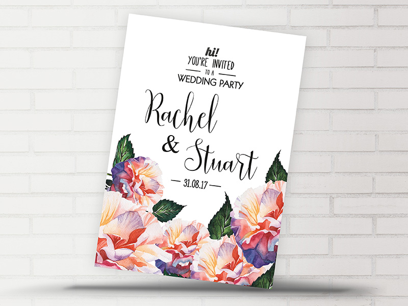 Rachel Floral Invite Side 1