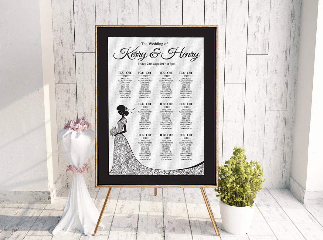 Simple Black White Wedding Invitation Bride Dress Table Plan