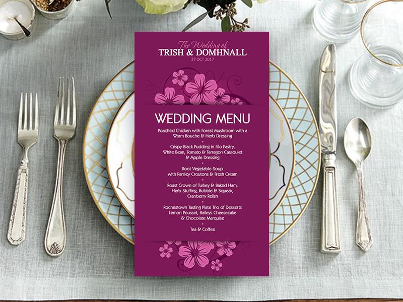 Ballymornay Purple Wedding Menu