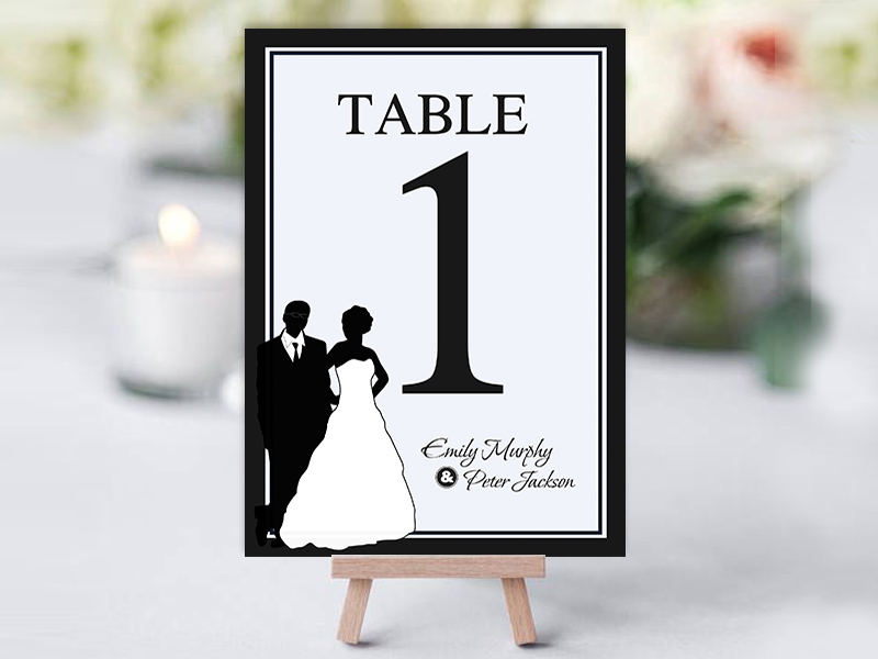 Black & White Bridal Silhouette Table Name