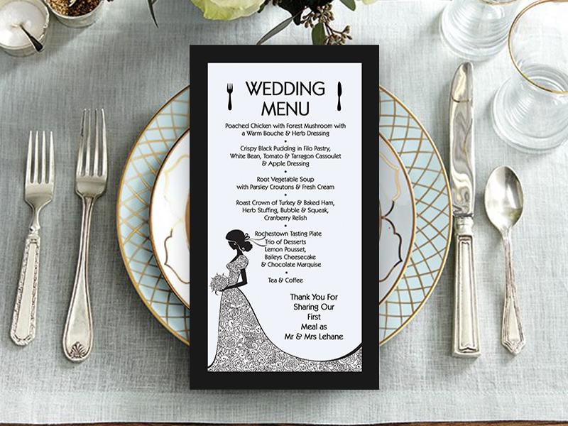 Black & White Bride Dress Menu