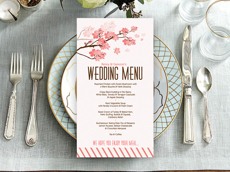 Cherry Blossom Wedding Menu
