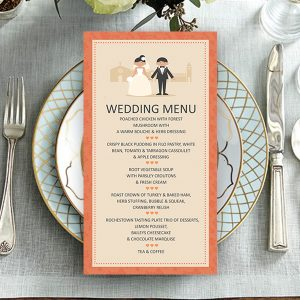 Classic Coral Couple Wedding Menu