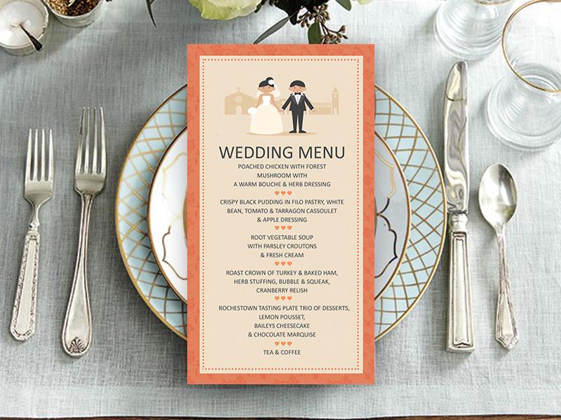 Classic Coral Couple Wedding Menu
