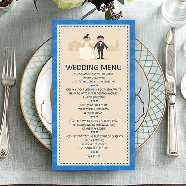 Classic royal blue couple wedding menu now and forever classic royal blue couple wedding menu junglespirit Gallery
