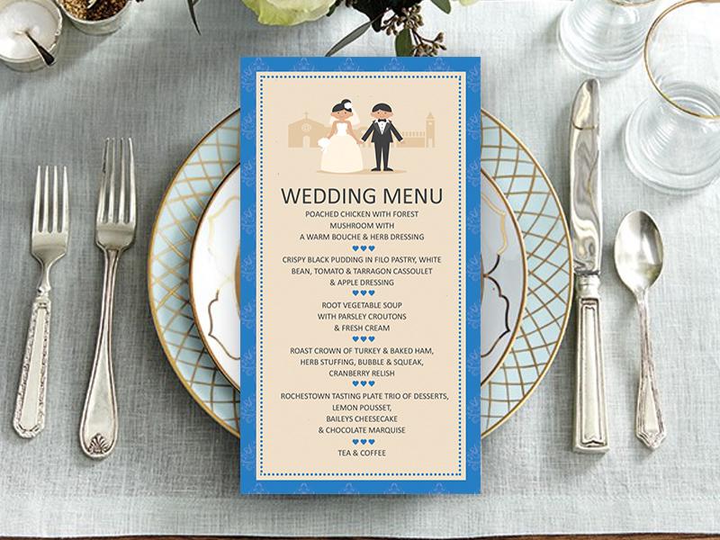 Classic Royal Blue Couple Wedding Menu