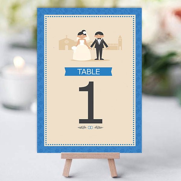 Classic Royal Blue Couple Table Name