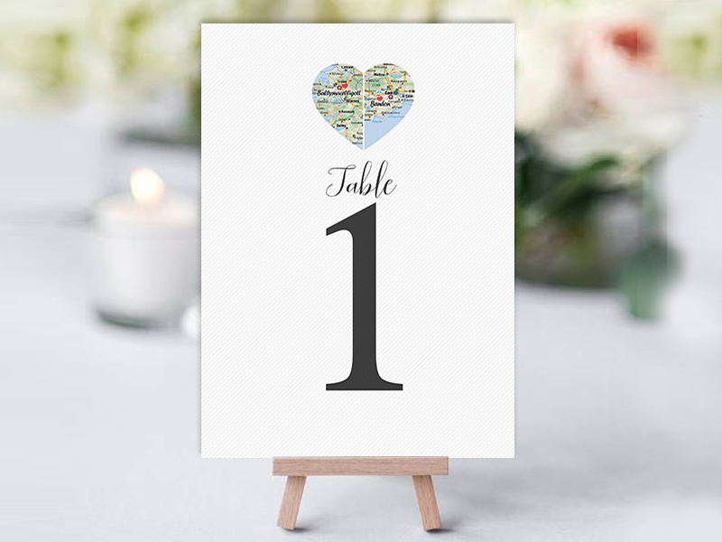 County Hearts Table Name Cards