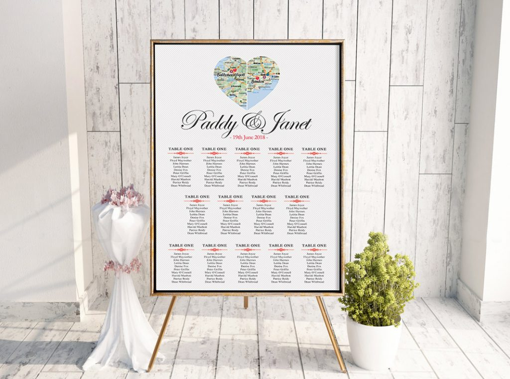 County Hearts Table Plan