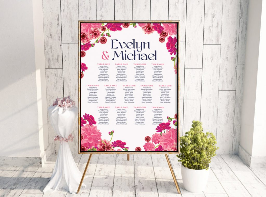 Deep Pink Floral Daisy Table Plan