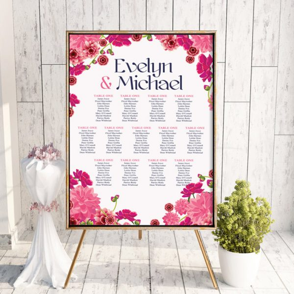 Deep Pink Floral Table Plan
