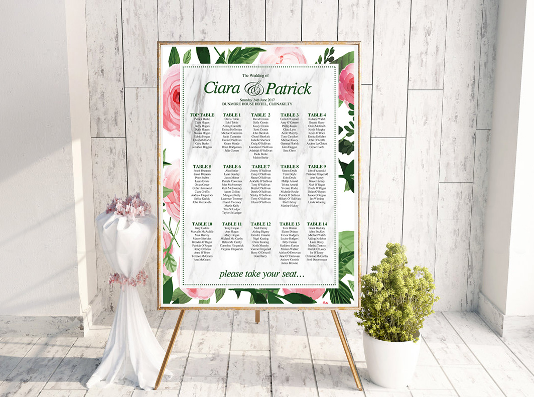 Floral Green & Pink Table Plan