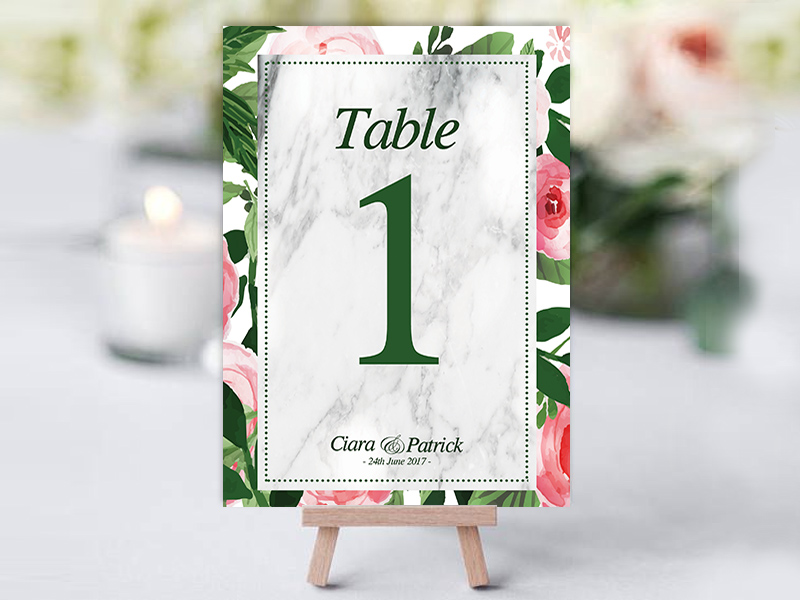 Green Pink Floral Table Name Cards