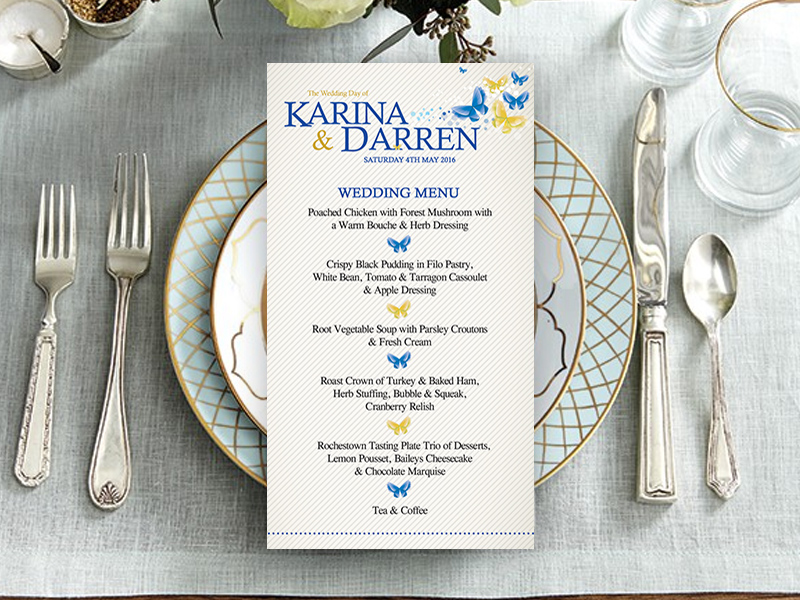 Karina Butterfly Wedding Menu