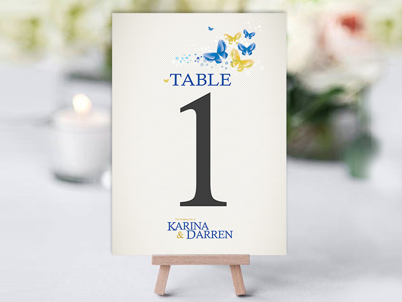 Karina butterfly table name cards now and forever for Name for the table