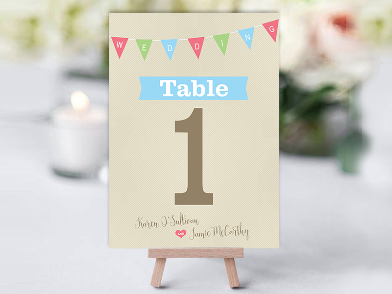 Light Rustic Bunting Table Name Cards