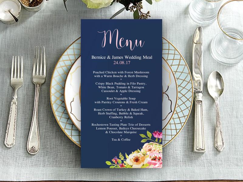 Navy Floral Wedding Menu