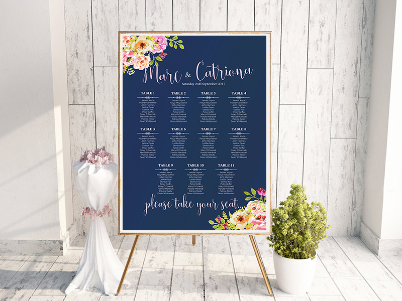 Navy Floral Table Plan