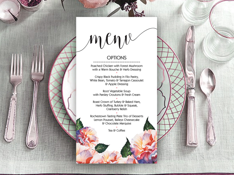 Rachel Floral Wedding Menu