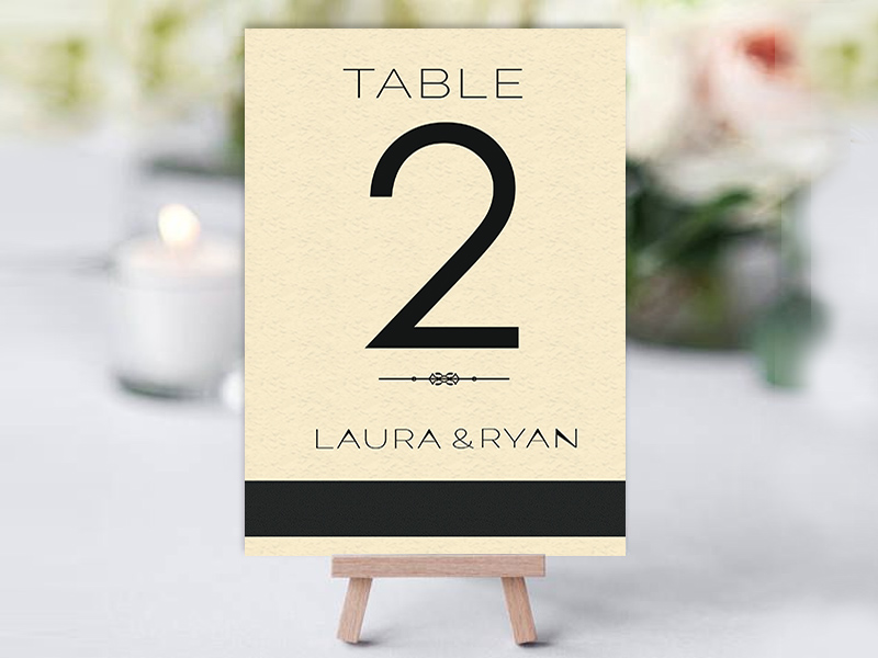 Simple Black & Ivory Table Name Cards