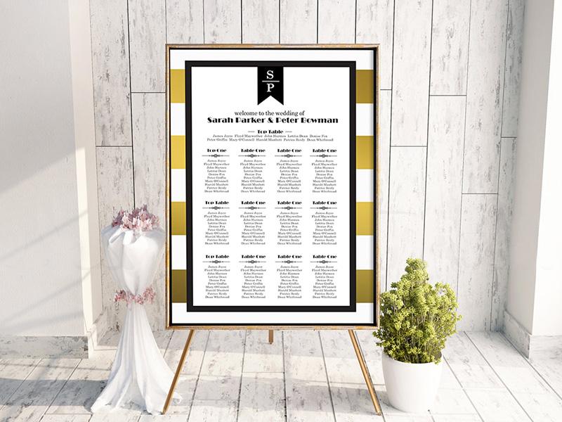 Trinian Gold Stripe Table Plan
