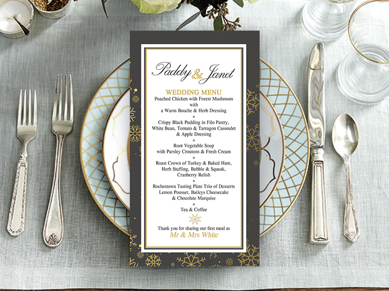 Tis' The Season Grey & Gold Wedding Menu