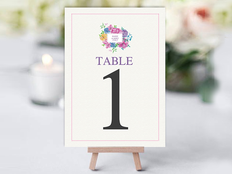 WaterColour Square Table Name Cards