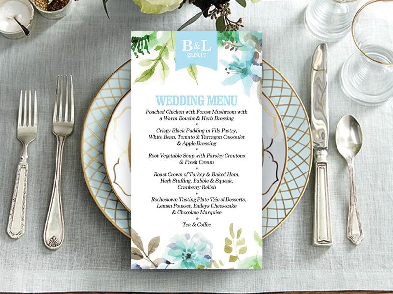 WaterFloral Wedding Menu