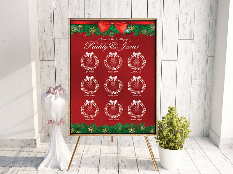 Xmas Wreath Red Table Plan