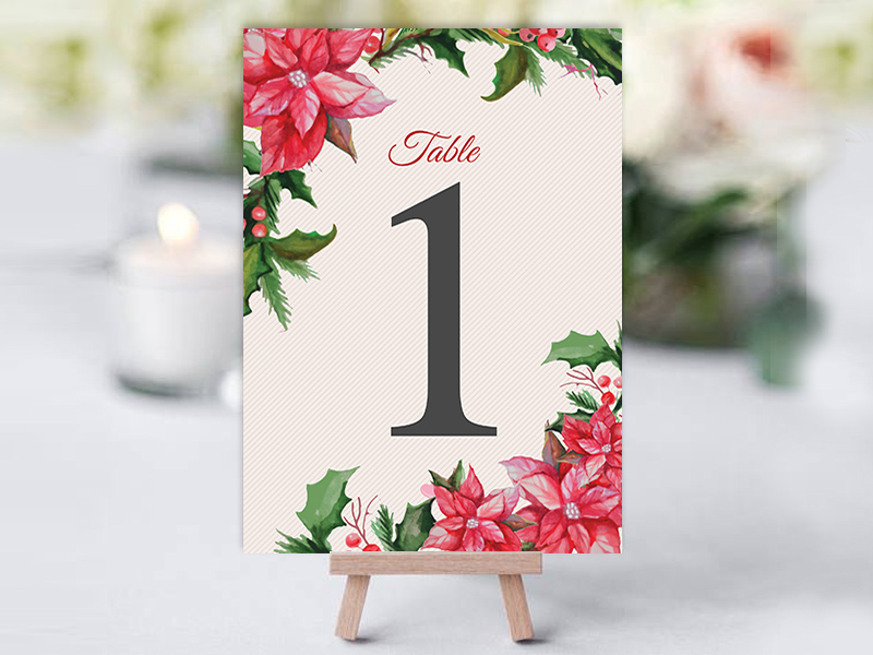 Xmas Floral Table Name Cards