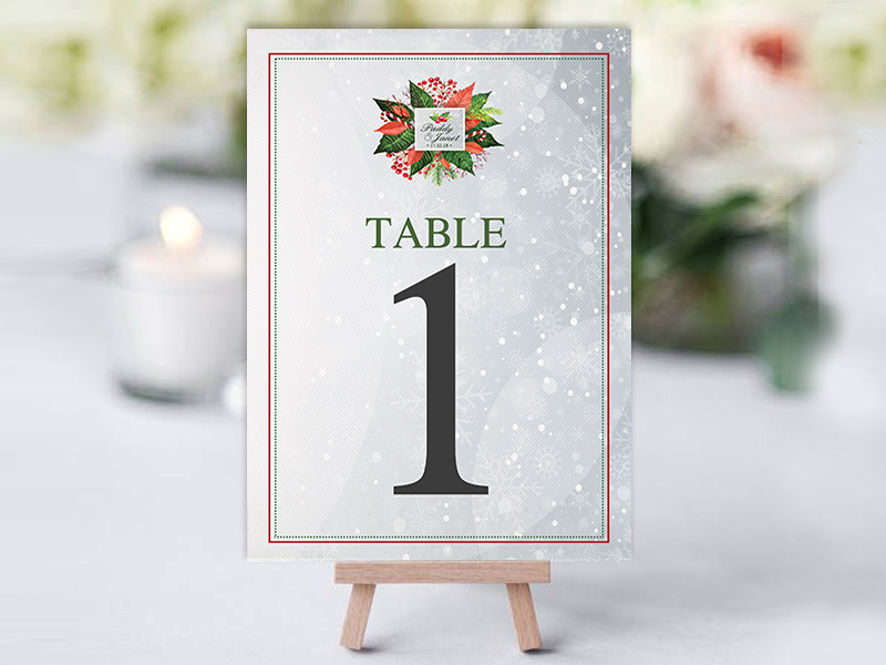 Xmas Holly Floral Table Name Cards