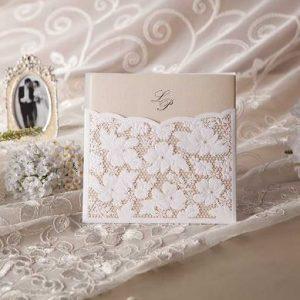 Floral Lace Pocket Laser Cut Wedding Invites