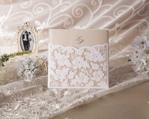 Floral Pocket Laser Cut Invite