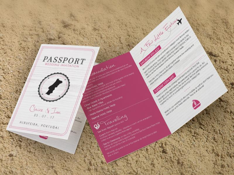 Dunne PInk Passport Folding Invite