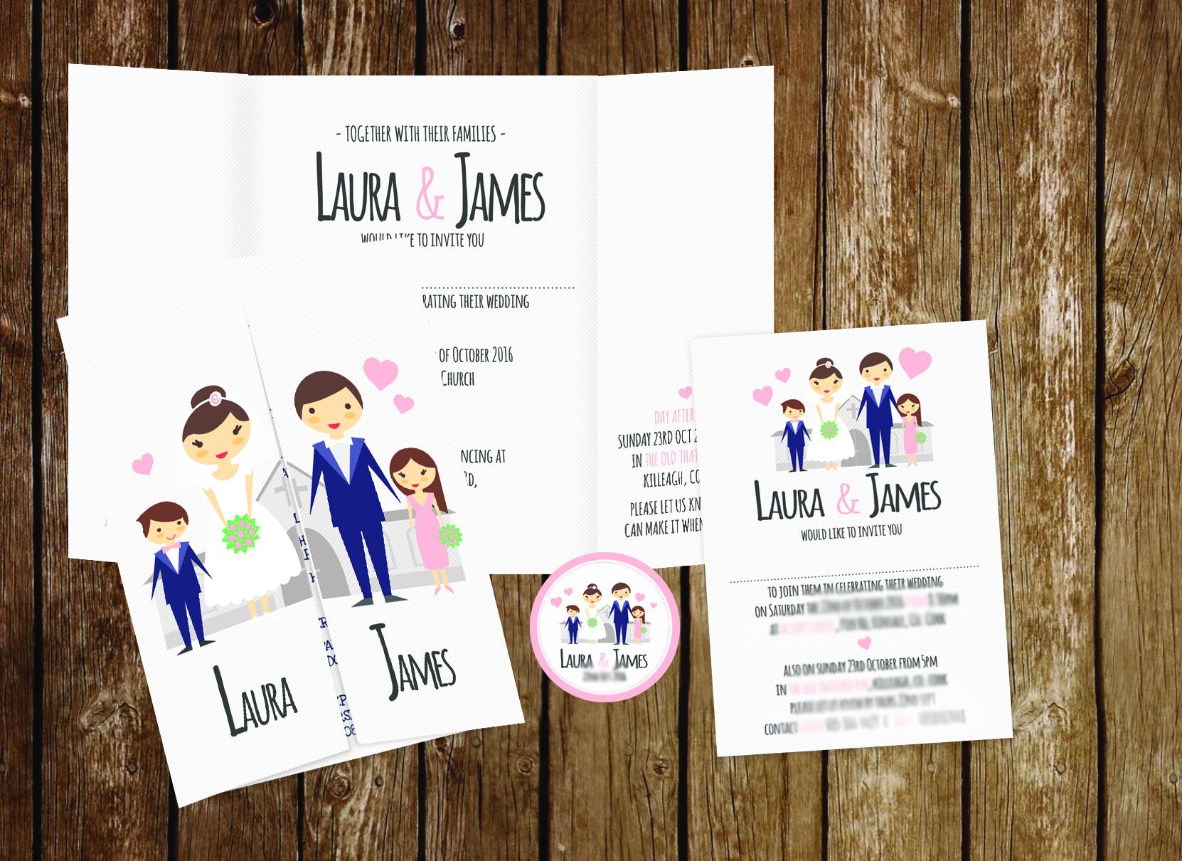 Family Wedding Invitation Gate Fold Now Forever Ireland Uk