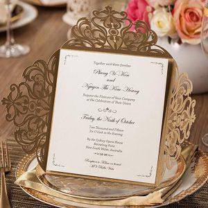 Gold Floral 4 Fold Laser Cut Wedding Invites