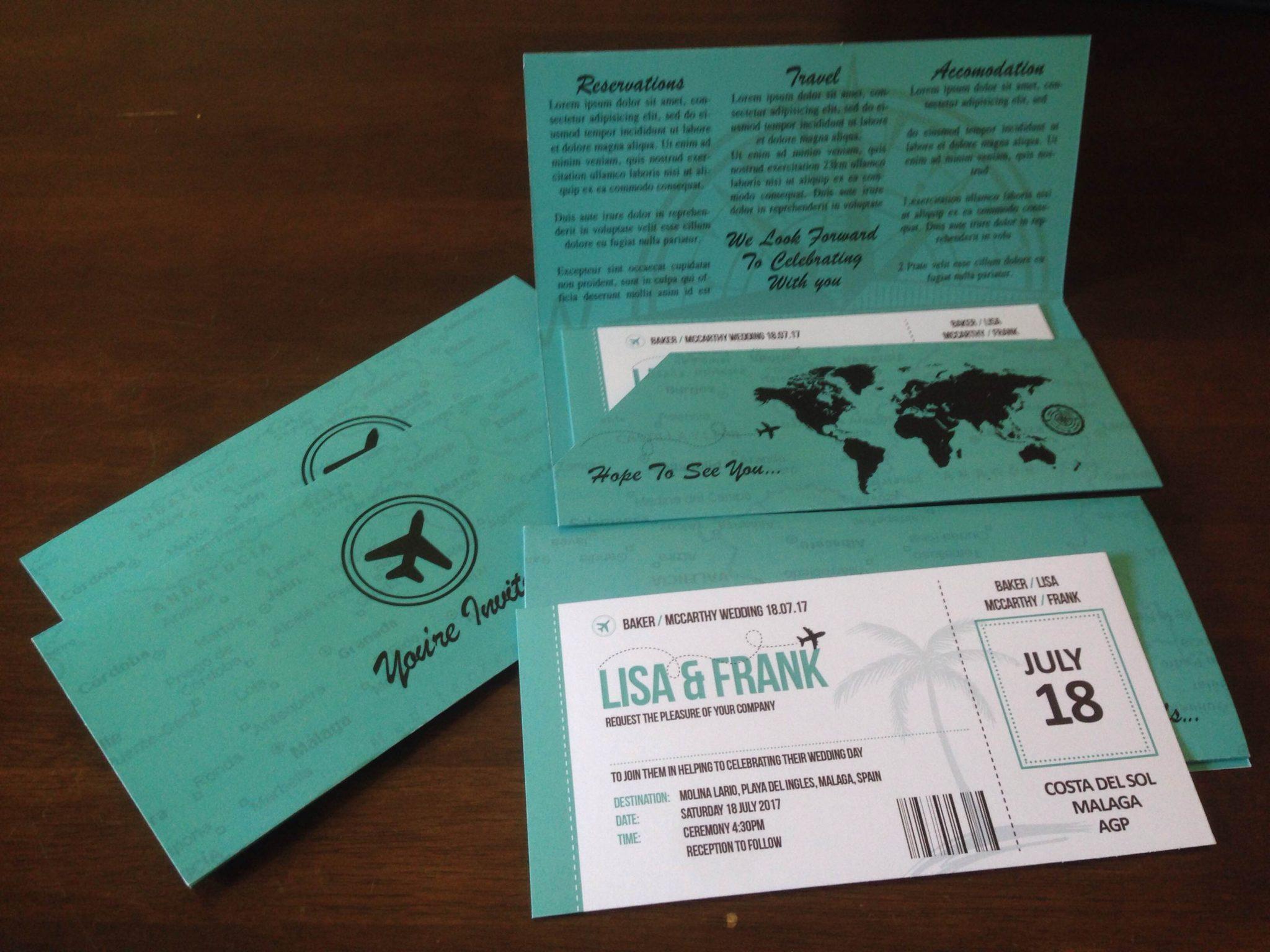 Boarding Pass Travel Wedding Invite