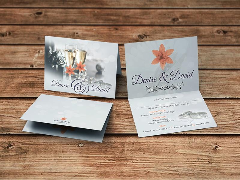 Champagne Floral Folding Invite