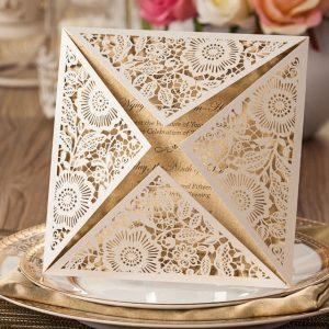 Ivory Floral 4 Fold Laser Cut Wedding Invites
