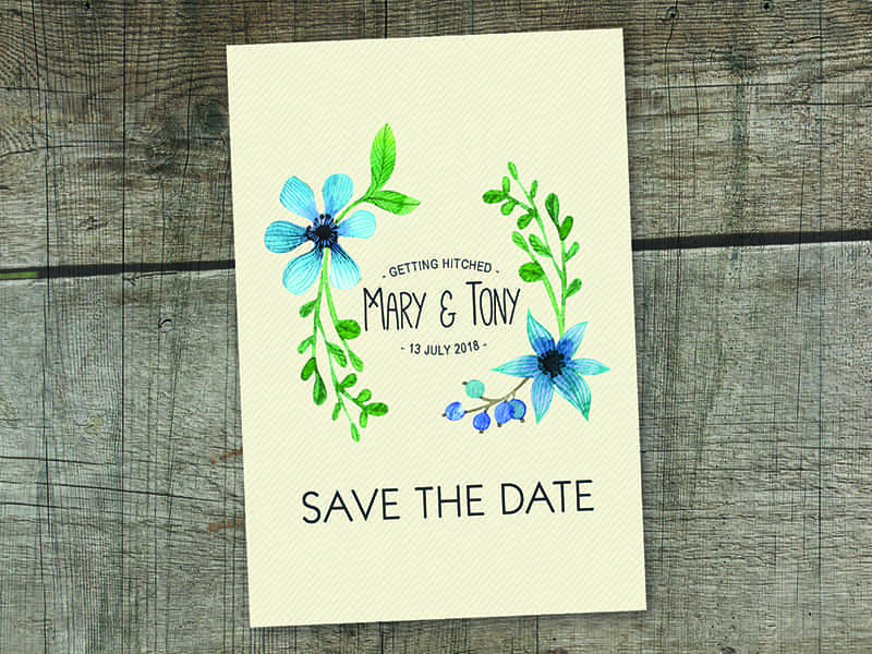 Blue Cream Floral Water Save The Date