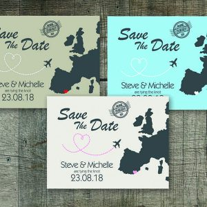 Travel Hop Colours Save The Date Card