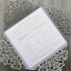 Silver Floral 4 Fold Laser Cut Wedding Invites