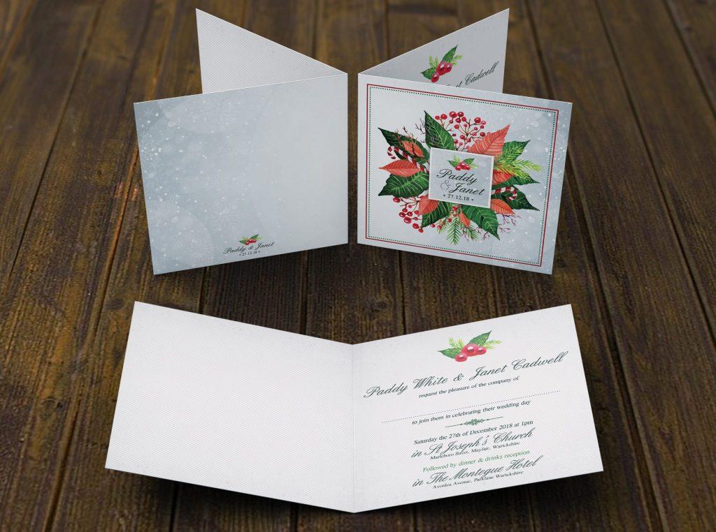 Xmas Holly Floral Folding Invite