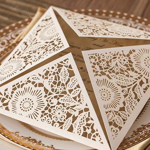 Ivory Fl Laser Cut Wedding Invitation