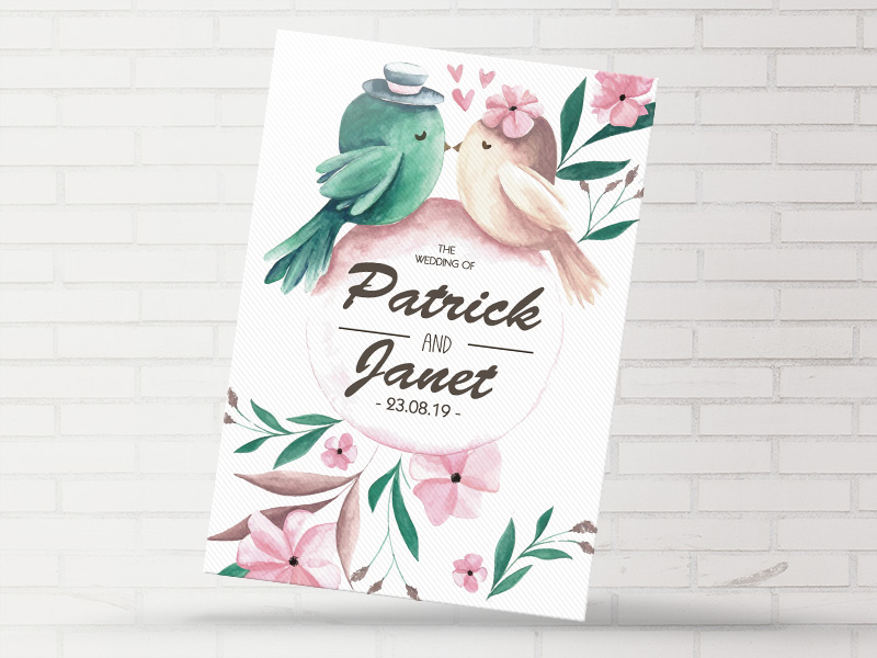 Floral Love Birds Flat Invite